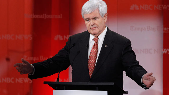 PHOTO: Newt Gingrich makes a point as he participates in the NBC News, National Journal, Tampa Bay Times debate held at the University of South Florida on Jan. 23, 2012 in Tampa, Florida.