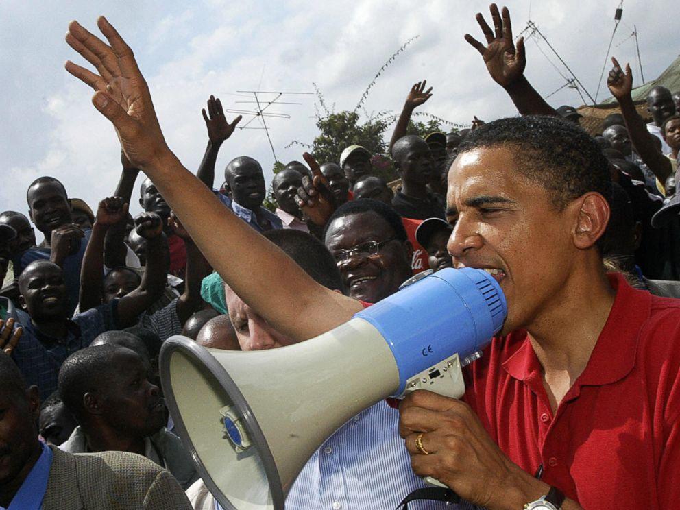 PHOTO: Nairobi, KENYA: US senator of Kenyan descent, Barack Obama addresses residents of Africas largest slum, Kibera, Aug. 27, 2006.