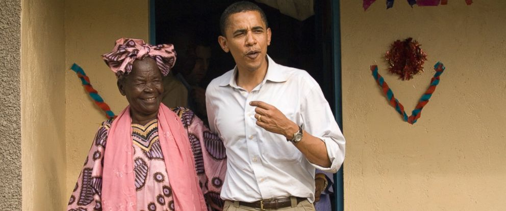 PHOTO: Barack Obama emerged with his grandmother, Sarah Hussein Obama, from her house in his familys village of Kogelo, Kenya on Aug. 26, 2006.