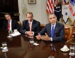 PHOTO: President Obama, John Boehner and Timothy Geithner