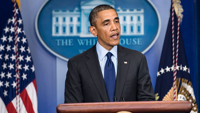 PHOTO: President Barack Obama makes a statement in the briefing room of the White House April 19, 2013 in Washington.