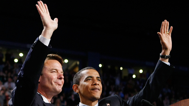 PHOTO: Democratic presidential hopeful Sen. Barack Obama, right, and John Edwards wave during a rally at Van Andel Arena, May 14, 2008 in Grand Rapids, MI.
