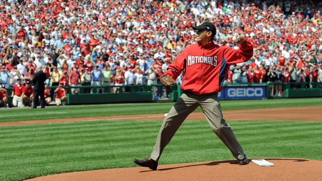 PHOTO: U.S. President Barack Obama throws out the ceremonial first pitch prior to the Opening Day game between the Philadelphia Phillies and the Washington Nationals at Nationals Park in this April 5, 2010 file photo in Washington, DC.