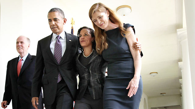 PHOTO: President Barack Obama, second from left, former aide Samantha Power, right, U.S. Ambassador to the United Nations Susan Rice, second from right, and incumbent National Security Adviser Tom Donilon, left, return to the Oval Office after a personnel
