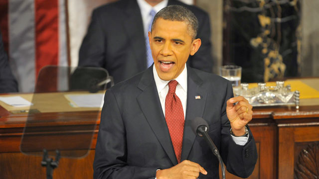 PHOTO: President Barack Obama addresses a Joint Session of Congress while delivering his State of the Union speech, on Jan. 24, 2012 in Washington, D.C.