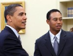 PHOTO: President Barack Obama talks with professional golfer Tiger Woods in the Oval Office of the White House, April 20, 2009, in Washington.