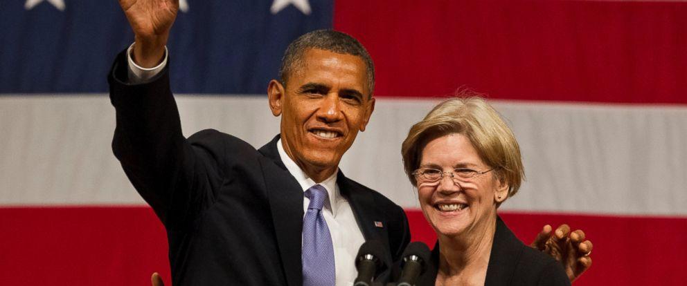 PHOTO: President Barack Obama with Senate candidate Elizabeth Warren during at a fundraiser in Symphony Hall, June 25, 2012.