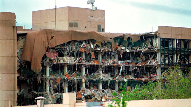 PHOTO: Protective covering drapes over the Alfred P. Murrah Federal Building in Oklahoma City, April 19, 1995, where a terrorist bomb killed 168 people.
