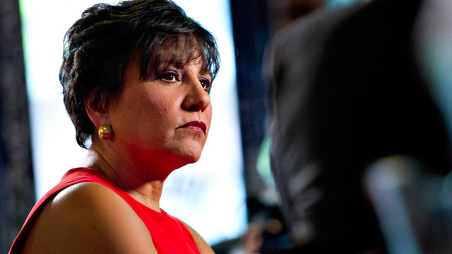 """PHOTO: Penny Pritzker, chairman and chief executive officer of PSP Capital Partners LLC, listens during the """"Titans at the Table"""" Bloomberg Television program in Chicago, Illinois on April 18, 2012."""