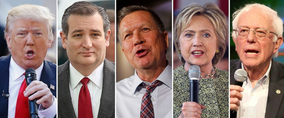 PHOTO: Presidential candidates Donald Trump, Ted Cruz, John Kasich, Hillary Clinton and Bernie Sanders are pictured in 2016.