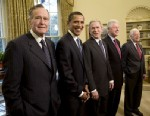 PHOTO: Former President George H.W. Bush, President-elect Barack Obama, President George W. Bush, and former presidents Bill Clinton and Jimmy Carter pose together in the Oval Office in this Jan. 7, 2009 file photo at the White House in Washington, D.C.