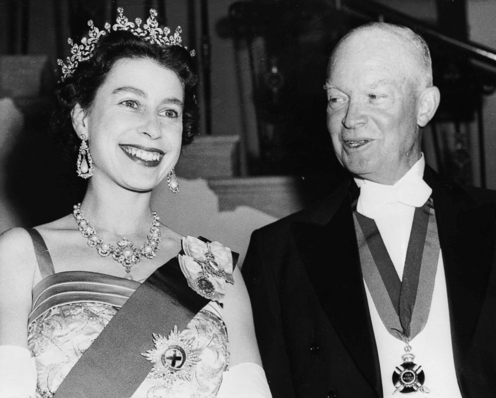 PHOTO: Queen Elizabeth II stands with Former President Dwight D. Eisenhower at a White House State banquet, Oct. 20, 1957, in Washington. Eisenhower is wearing the British Order of Merit awarded him by King George VI after World War II.