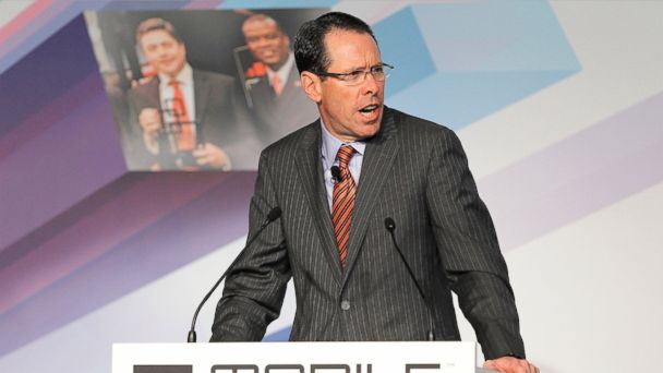 PHOTO: Randall Stephenson, chairman, president and chief executive officer of AT&T Inc., speaks during the first keynote address at the Mobile World Congress in Barcelona, Spain, on Feb. 25, 2013.