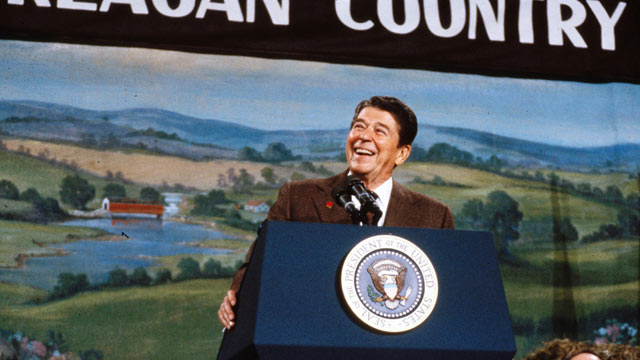 PHOTO: Ronald Reagan campaigns in New Hampshire at the start of his 1984 re-election campaign.