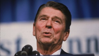 PHOTO: President Ronald Reagan addressing the National Association of Evangelicals in a speech calling the Soviet Union an evil empire, March 8, 1983.