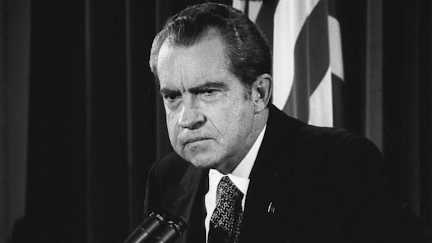 PHOTO: President Richard Nixon answers questions about the Watergate scandal in the East Room of the White House on Oct. 1973 in Washington, D.C.