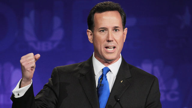 PHOTO: Former U.S. Sen. Rick Santorum speaks during a debate hosted by CNBC and the Michigan Republican Party at Oakland University in this Nov. 9, 2011 file photo.