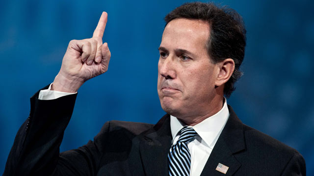 PHOTO: Former senator from Pennsylvania Rick Santorum speaks at the Conservative Political Action Conference (CPAC) in National Harbor, Maryland, March 15, 2013.