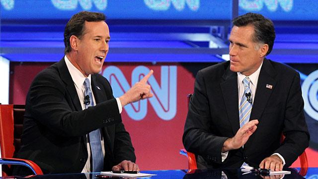 PHOTO: Rick Santorum and Mitt Romney