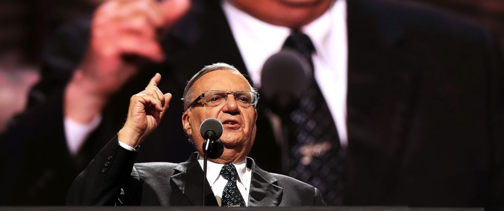 PHOTO: Maricopa County Sheriff Joe Arpaio delivers his speech on the fourth day of the Republican National Convention on July 21, 2016 in Cleveland.