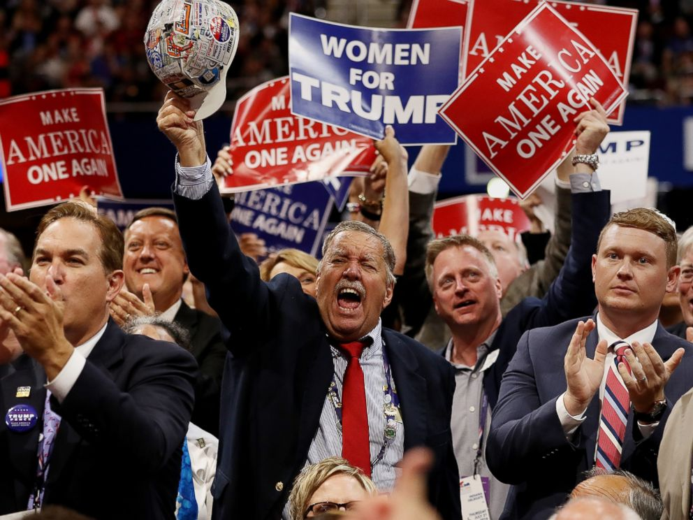 PHOTO: Delegates cheer as Republican presidential candidate Donald Trump delivers his speech on the final day of the Republican National Convention, July 21, 2016 at the Quicken Loans Arena in Cleveland.