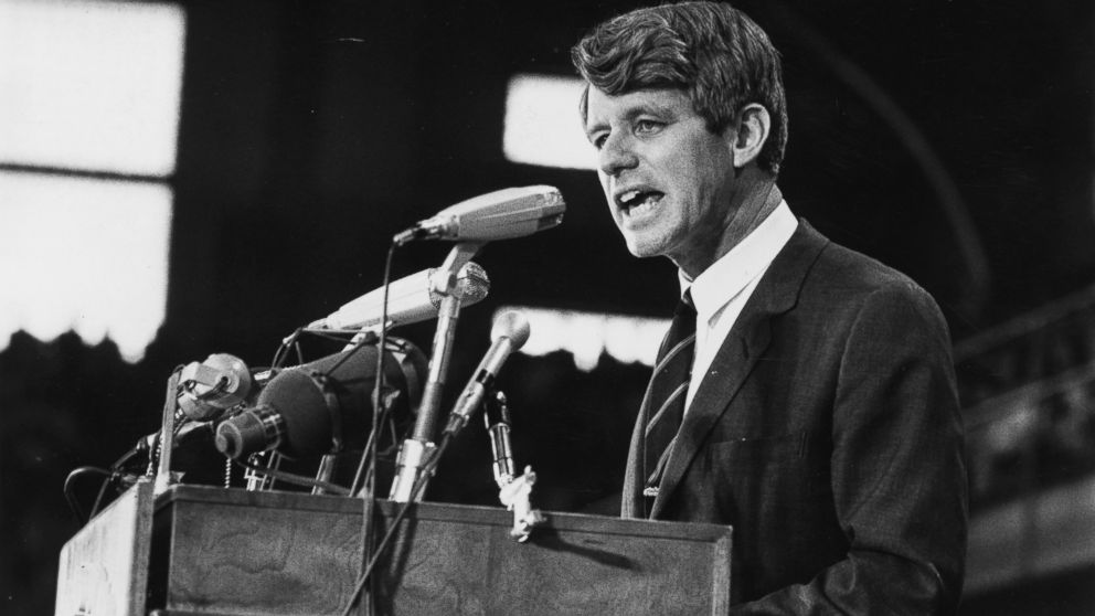 Senator Robert Kennedy speaking at an election rally, 1968.