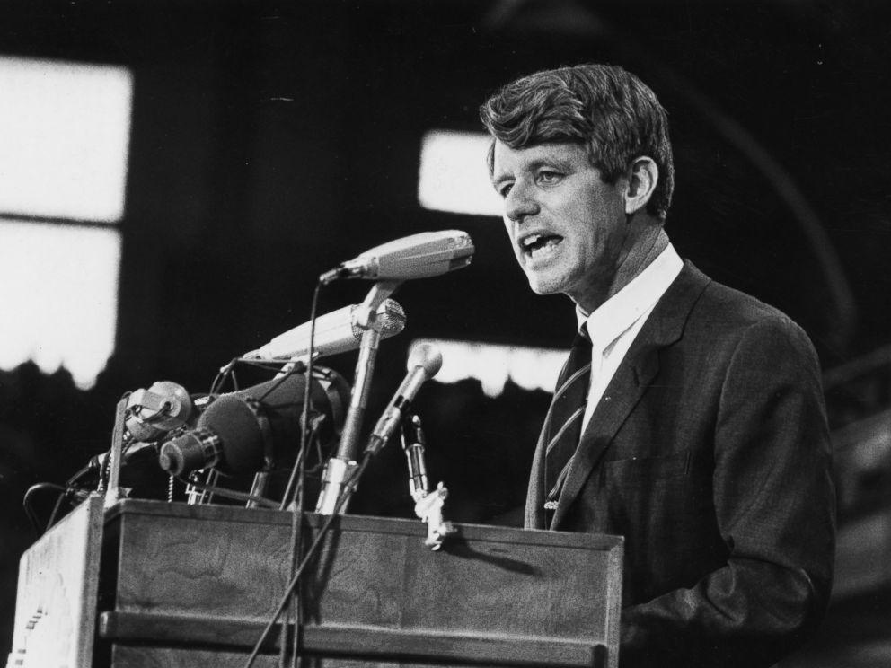 PHOTO: Senator Robert Kennedy speaking at an election rally, 1968.