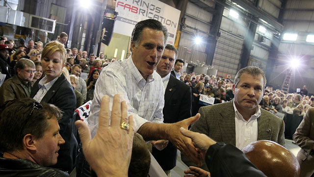 PHOTO: Mitt Romney greets supporters during a campaign rally at Colorado Springs Fabrication February 4, 2012 in Colorado Springs, Colorado.