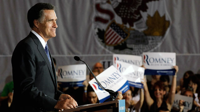 PHOTO: Mitt Romney addresses his supporters during an Illinois GOP primary victory party at the Renaissance Schaumburg Convention Center Hotel March 20, 2012 in Schaumburg, Illinois.