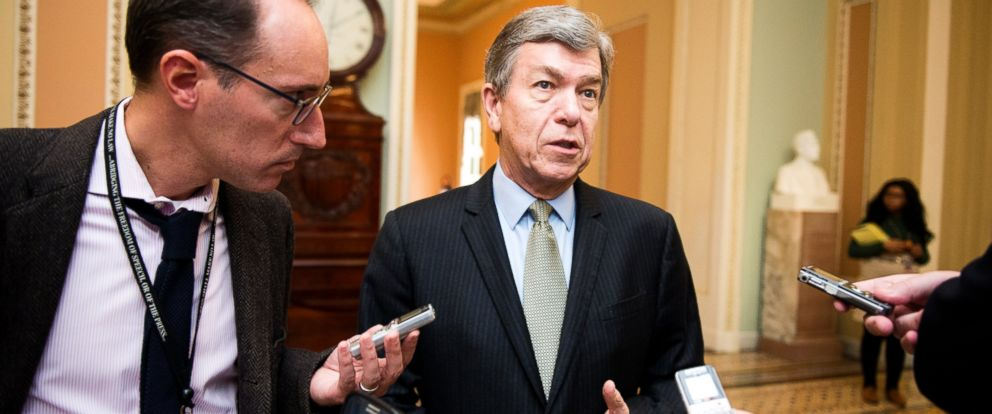 PHOTO: Sen. Roy Blunt, R-Mo., speaks with reporters in the Ohio Clock Corridor in the Capitol on Nov. 19, 2014.
