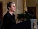 PHOTO: Sally Jewell, President and CEO of REI, introduces U.S. President Barack Obama during an event in the East Room of the White House, February 16, 2011 in Washington, DC.