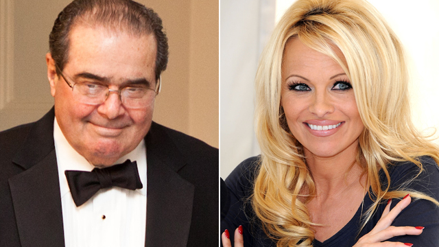PHOTO: Supreme Court Justice Antonin Scalia and Pamela Anderson are shown in March 2012, file photos.