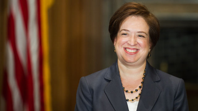 PHOTO: Elena Kagan smiles to the applauding crowd in attendence after being sworn in as the 112th justice of the United States, and only the 4th woman to take the job, at the West Conference room of the US Supreme Court in Washington on August 7, 2010.