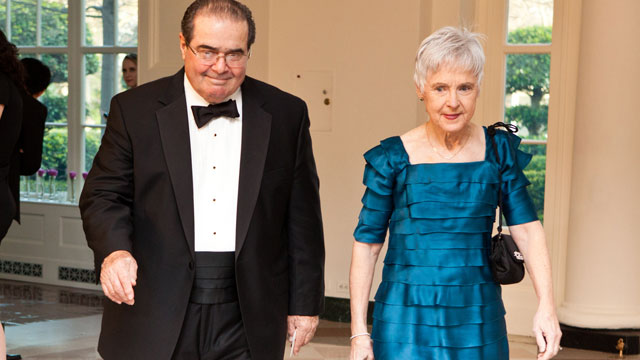 PHOTO: U.S. Supreme Court Justice Antonin Scalia and Maureen M. Scalia arrive for a State Dinner in honor of British Prime Minister David Cameron at the White House on March 14, 2012 in Washington, DC.