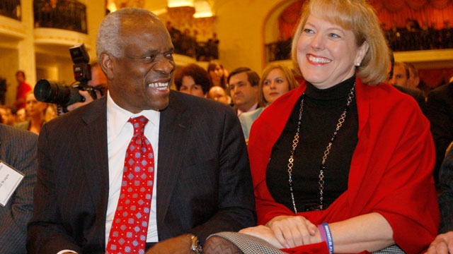 PHOTO: In this Nov. 15, 2007, photo, Supreme Court Justice Clarence Thomas, left, sits with his wife Virginia Thomas, as he is introduced at the Federalist Society in Washington, where he spoke about his new book and took questions from the audience.