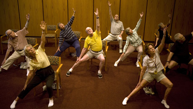 PHOTO: Residents of John Knox Village stay active with a chair yoga class.