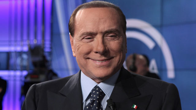 "PHOTO: PDL Leader Silvio Berlusconi attends ""Porta A Porta"" TV Show, Feb. 20, 2013, in Rome, Italy."