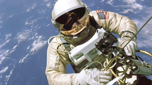 PHOTO: On June 3, 1965, Edward H. White II became the first American to step outside his spacecraft and let go, effectively setting himself adrift in the zero gravity of space.