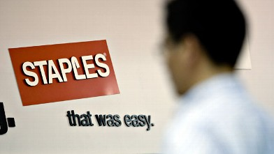 PHOTO: A Staples logo hangs on a wall inside a Staples store in New York on May 26, 2009.