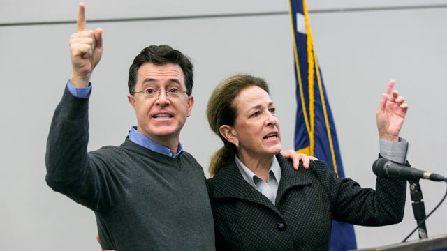 PHOTO: Stephen Colbert speaks with his sister Elizabeth Colbert Busch during a campaign fundraiser breakfast at ILA Hall, Feb. 24, 2013, in Charleston, South Carolina.