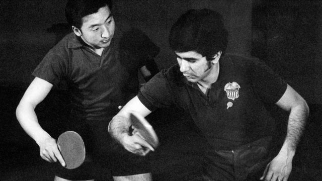 PHOTO: An American tennis table player, right, trains with a Chinese tennis table player, April 1971, in Beijing, China. It is the first time that American athletes come to China since communism took the power in 1971.
