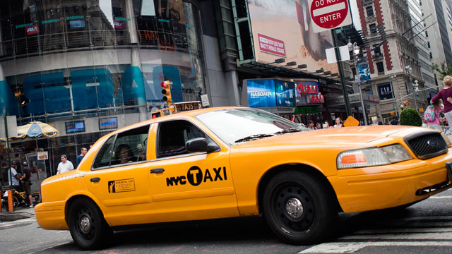 PHOTO: A taxi drives past in New York, July 13, 2011.