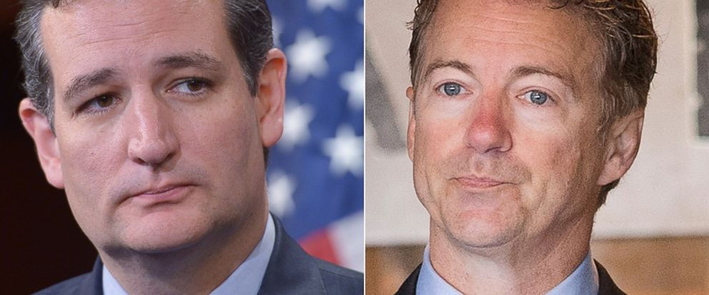 PHOTO: Senator Ted Cruz is seen in Washington in this Sept. 9, 2014 file photo. Right, Senator Rand Paul is seen in Atkins, Iowa in this April 25, 2015 file photo.