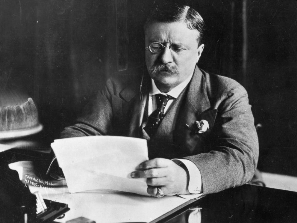 PHOTO: Theodore Roosevelt, the 26th President of the United States, sitting at his desk working.