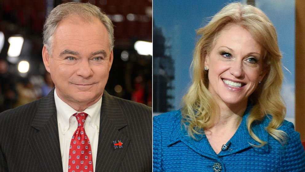 """Tim Kaine, left, and Kellyanne Conway to appear on """"This Week."""""""