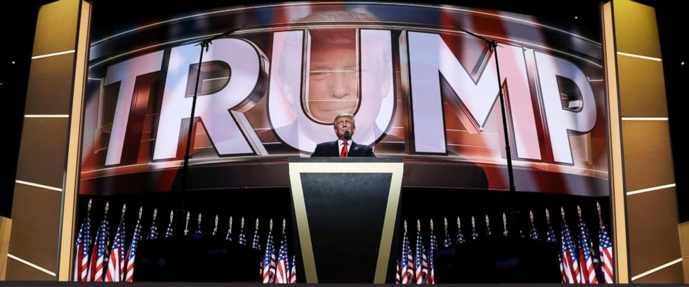 PHOTO: Donald Trump delivers a speech during the evening session on the fourth day of the Republican National Convention, July 21, 2016, at the Quicken Loans Arena in Cleveland, Ohio.