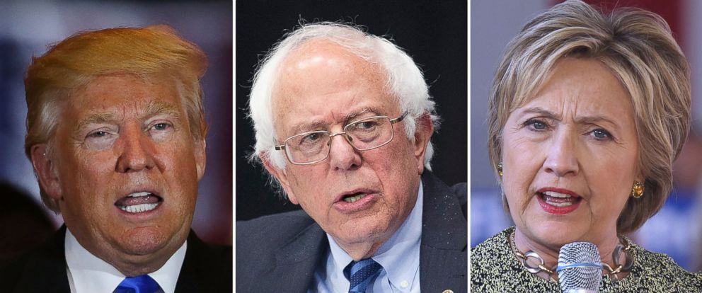 PHOTO: Presidential candidates Donald Trump, Bernie Sanders and Hillary Clinton speak on the campaign trail in 2016.