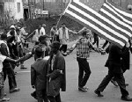 PHOTO: Marchers take part in a walk during the Selma to Montgomery march, held in support of voter rights in Alabama, March 1965.