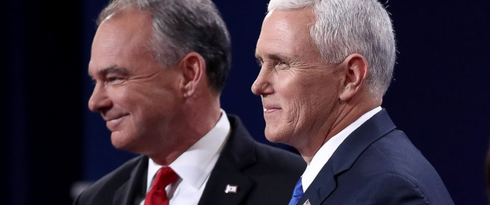 PHOTO: Vice presidential nominees Tim Kaine and Mike Pence stand on stage prior to the Vice Presidential Debate at Longwood University on Oct. 4, 2016 in Farmville, Va.