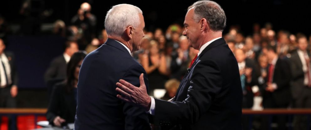 PHOTO: Vice presidential nominees Mike Pence and Tim Kaine meet on stage following their debate at Longwood University on Oct. 4, 2016 in Farmville, Va.
